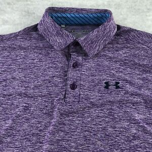 Under Armour Loose Men Purple Heat Geer Short Sleeve Polo Shirts Size SM - Small