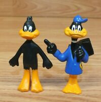 Lot of 2 Vintage 1989 Daffy Duck Restaurant Kid's Meal PVC Toy Figurines *READ*