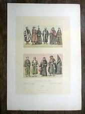 SYRIE - LIBAN Costumes CHROMOLITHOGRAPHIE 19e siècle Racinet DAMAS BELKA DRUZES