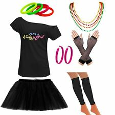 Womens Off Shoulder 80s Party Girl T Shirt Tutu Skirt Set Party Accessories 6307