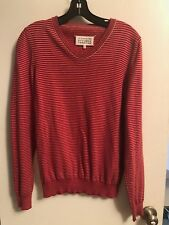 Martin Margiela 14 | Men's Striped Cotton V Neck Pullover | Small