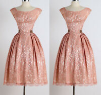 Vintage 50s 60s Lace Rockabilly Swing Evening Cocktail Party Bridesmaid Dress