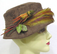 Vintage Ladies Hat Brown Furry Felt w Millinery Bird and Long Feathers Circa 50s
