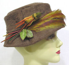 0f6a9e1eace978 Vintage Ladies Hat Brown Furry Felt w Millinery Bird and Long Feathers  Circa 50s