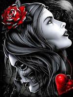Full drill Diamond Painting Skull Beauty Flower Heart Embroidery Handicraft 6038
