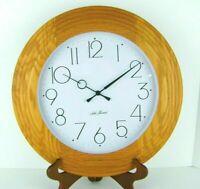 "Seth Thomas Oak Wall Clock Art Deco Style Layered Wood Frame Round Quartz 15.75"""