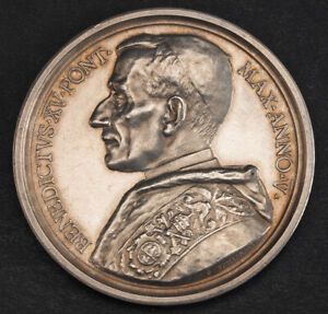 """1919, Vatican, Pope Benedict XV.Silver """"End of the Great War"""" Medal. Scarce!"""