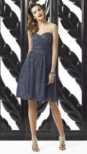 Neue Dessy Collection trägerloses Rokoko Lace Overlay Kleid Größe 8 $276 grau