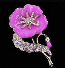 Gold Tone Pink/Lilac Enamel Poppy encrusted Diamante Crystals brooch pin
