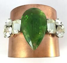 Women's copper toned metal cuff bracelet green glass prism vintage rhinestone