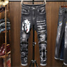Men's Patch Jeans Pants Long Stretch Fit Printed Letters Comfy Casual Trousers