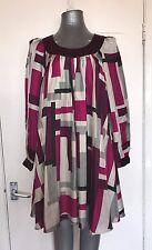 Catherine Malandrino, Talla 2, morado y rosa, 100% Seda Vestido Túnica, pre-Amado