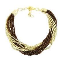 Gloriosa 12 Strand Seed Bead Murano Bracelet - Topaz and Gold