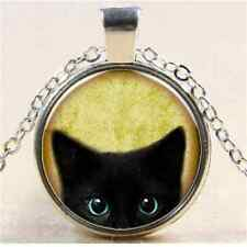 New Vintage Cool Black Cat Cabochon Silver Glass Chain Pendant Necklace Gift FT