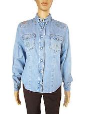 SISLEY Womens Vtg Retro Blue Jeans Long Sleeve Classic Denim Shirt sz S AP36