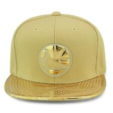 Mitchell & Ness Golden State Warriors Snapback Hat Cap Gold/Gold Foil w/ Design