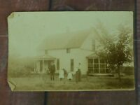 RPPC Vintage Post Card Family and House Unknown Location rural USA unposted