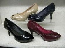 Zapatos de tacón de mujer peep toes color principal negro de charol