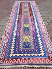 "Anatolia Turkish Kilim Runner Rug,Purple Color Runner 34,2""x107,4"" Carpet Runner"