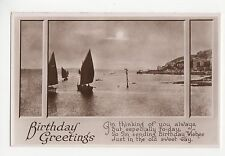 Birthday, Real Photo Window & Sea Greetings Postcard, A852