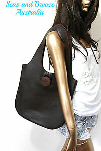 Unique flat genuine cow leather tote shoulder bag boho & ethnic style for women