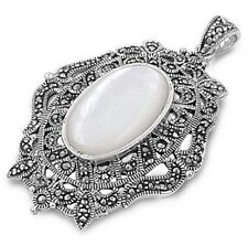 Silver Pendant with Marcasite Pendant Height 48 mm Mother of Pearl fashion 925