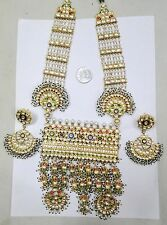 Pendant Necklace Earring Rajasthan India Vintage Antique Solid 20K Gold Gemstone