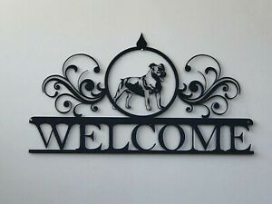 """Welcome Metal Wall Art Dog Home Decor Laser Cut Powder Coated Sign 10"""" x 18"""""""