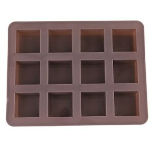 12 Square Silicone Cake Chocolate Cookies Baking Mould Ice Cube SoapMold Tray