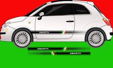 Abarth Fiat 500 595 Punto Side Stripes Graphic Decal Sticker Italian Flag L&R