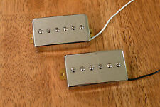 HUMBUCKER SIZED P90 PICKUP SET ALNICO 5 MAGNETS IN CHROME