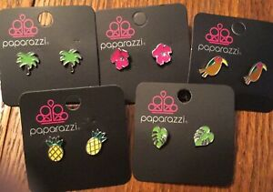 Paparazzi Starlet Shimmer lot of 5 tropical theme pierced earrings NEW