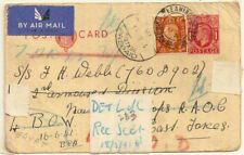 1941 KGVI 1d postal stationery PC+2d airmail GB->Egypt MEF WW2 Prepaid - rare
