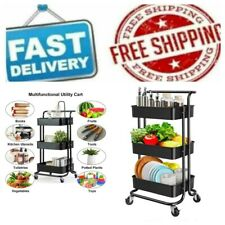 3 Tier Rolling Kitchen & Office Utility Mobile Cart & Handle Storage Organizer