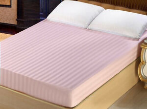 """King Queen Full Twin 12"""" Deep Pocket 100% Cotton Super Soft Fitted Sheet Stripe"""