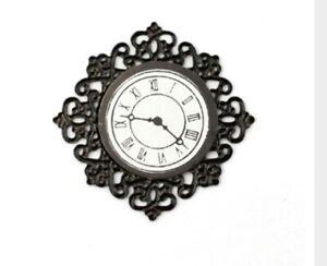 Miniature Dolls House Accessories Fancy Black Decorative Wall Clock 1:12thscale
