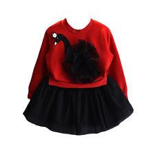 NUEVO Niñas Manga Larga Negro Cisne Tutú Rara Vestido en Rojo Blanco 3 4 5 6 7