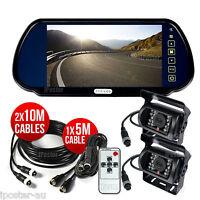 "Caravan Rear View 4Pin Kit 7"" Mirror Monitor+2x CCD Reversing Camera Nightvision"