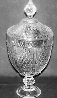 "Vintage Clear Glass Diamond Point Pattern Apothecary Jar 13"" Pasabache Turkey"