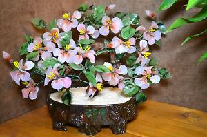 Vintage Large Japanese Jade Glass Flowering Cherry Blossom Bonsai Tree