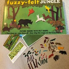 Vintage FUZZY FELT JUNGLE PLAY SET~ Over 50 Pieces ~ made in England, Allan Ind.