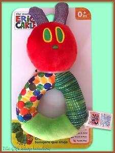 THE VERY HUNGRY CATERPILLAR RING RATTLE TEETHER 0+ CRINKLE TOY ERIC CARLE BNWT