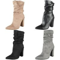 Womens Ladies High Heel Mid Calf Boots Rouched Pointed Casual Fashion Shoes Size