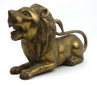 Vintage Brass Lion Couchant Figurine Ornament