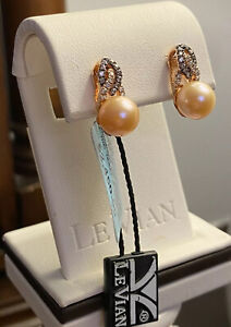 LeVian Cultured Pink Freshwater Pearl & Diamond Earrings - NWT - Exquisite