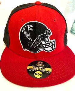 ATLANTA FALCONS FLAT PEAK NFL BASEBALL CAP, NEW ERA FITTED HAT, HIP HOP RETRO