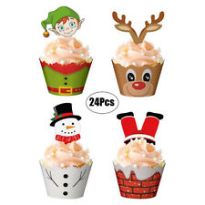 24X Christmas Snowman Santa Claus Cupcake Toppers And Wrappers Xmas Decor Toozh