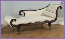 Antique English Regency Mahogany Scroll End Chaise Longue Sofa Couch Settee