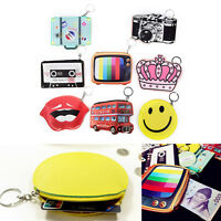 1PC Fashion PU Leather Mini Coin Purse Wallet bag Charm Keychain Ring JH