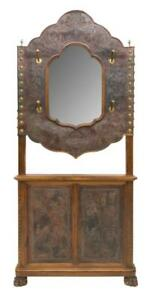 Hall Tree, French, Embossed Leather, Carved, Monumental,19th C. ,1800s, Antique